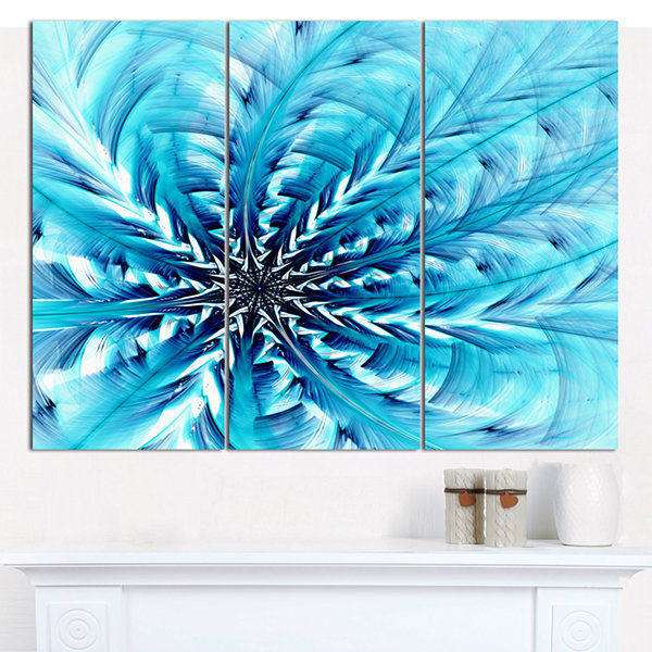 Designart Light Blue Fractal Flower Pattern Abstract Canvas Wall Art - 3 Panels