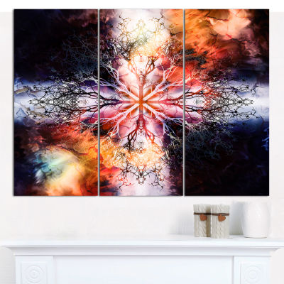 Designart Mandala With Tree Pattern Abstract Canvas Wall Art - 3 Panels