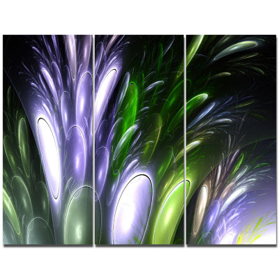 Designart Mysterious Psychedelic Flower Abstract Canvas Wall Art - 3 Panels