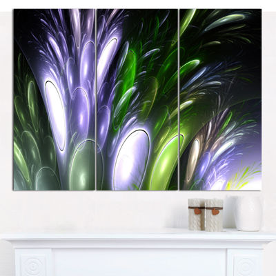 Designart Mysterious Psychedelic Flower AbstractCanvas Wall Art - 3 Panels
