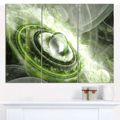 Design Art Green Fractal Flying Saucer Abstract Canvas Wall Art - 3 Panels