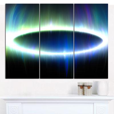 Designart Blue Oval Fractal Light Abstract CanvasWall Art - 3 Panels