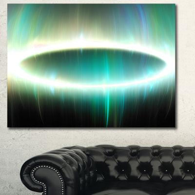 Designart Green Oval Fractal Light Abstract CanvasWall Art