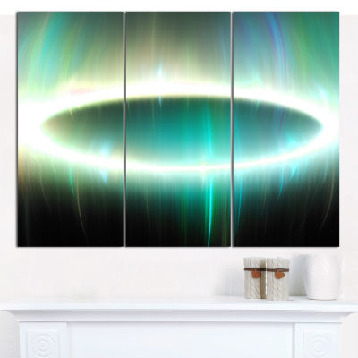 Design Art Green Oval Fractal Light Abstract CanvasWall Art - 3 Panels