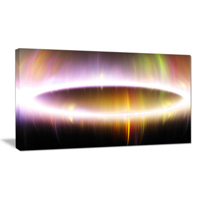 Designart Oval Of Northern Lights Abstract CanvasWall Art