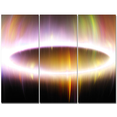 Design Art Oval Of Northern Lights Abstract CanvasWall Art - 3 Panels