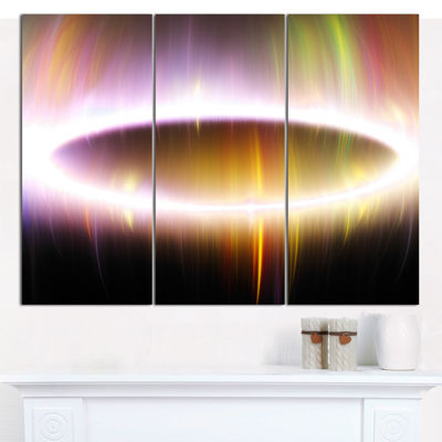 Designart Oval Of Northern Lights Abstract CanvasWall Art - 3 Panels