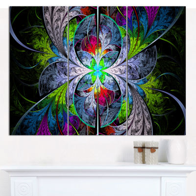 Designart Multi Color Fractal Stained Glass Abstract Canvas Wall Art - 3 Panels