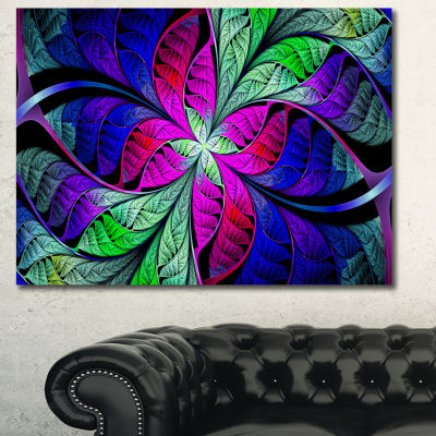 Designart Multi Color Stained Glass Texture Abstract Canvas Wall Art