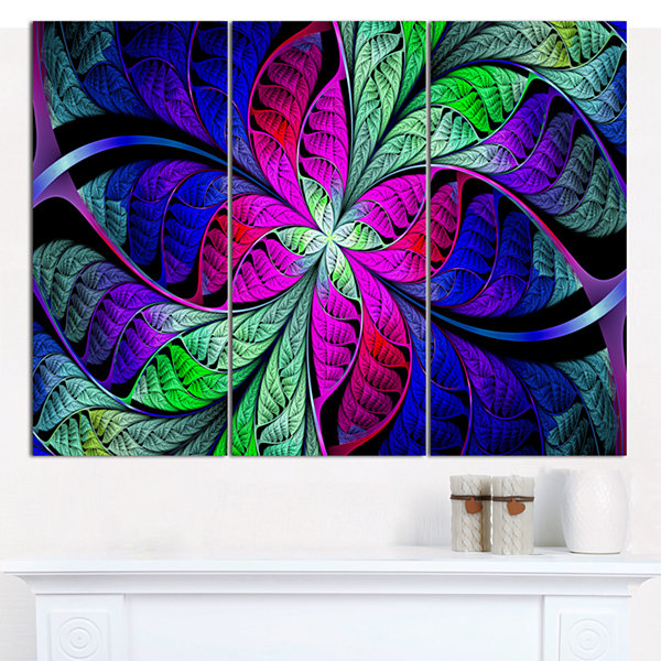 Designart Multi Color Stained Glass Texture Abstract Canvas Wall Art - 3 Panels