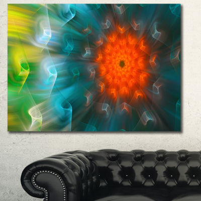 Designart Multi Color Fractal Petals Dandelion Floral Canvas Wall Art