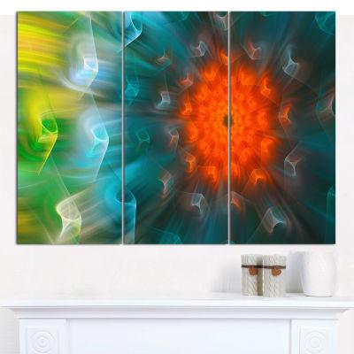 Designart Multi Color Fractal Petals Dandelion Floral Canvas Wall Art - 3 Panels