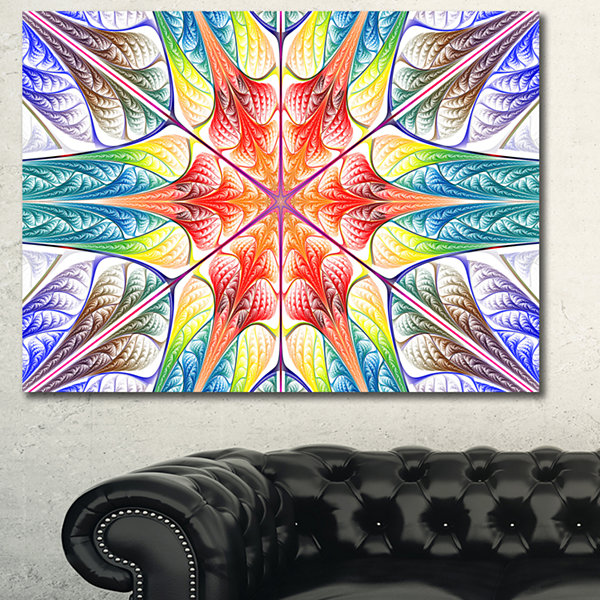 Designart Multi Color Fractal Circles And Waves Abstract Canvas Wall Art