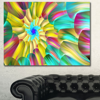 Designart Multi Color Stained Glass Spirals FloralCanvas Wall Art