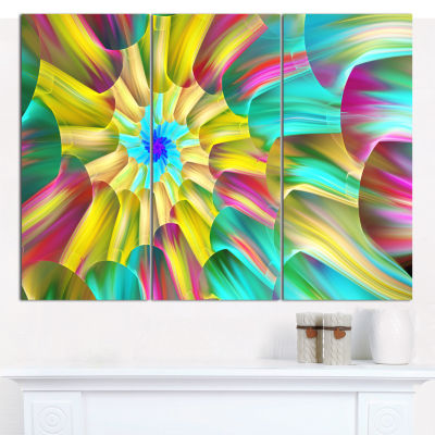 Designart Multi Color Stained Glass Spirals FloralCanvas Wall Art - 3 Panels