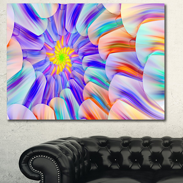 Designart Multi Colored Stain Glass With Spirals Floral Canvas Wall Art