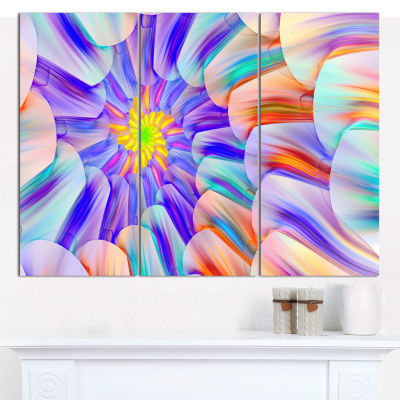 Designart Multi Colored Stain Glass With Spirals Floral Canvas Wall Art - 3 Panels