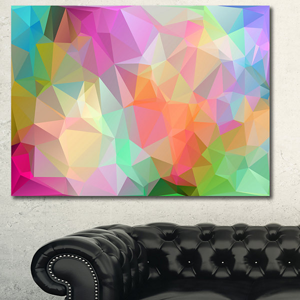 Designart Multi Color Polygonal Mosaic Pattern Abstract Canvas Wall Art
