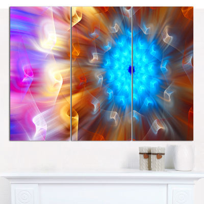 Designart Multi Color Exotic Flower Petals FloralCanvas Wall Art - 3 Panels
