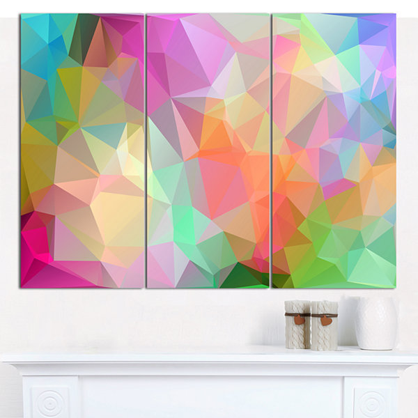 Designart Multi Color Polygonal Mosaic Pattern Abstract Canvas Wall Art - 3 Panels