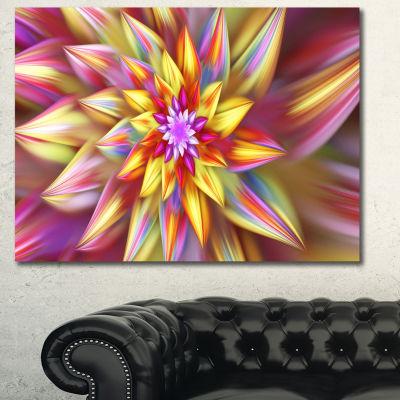 Designart Multi Color Alien Fractal Flower CanvasWall Art