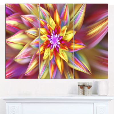 Designart Multi Color Alien Fractal Flower CanvasWall Art - 3 Panels