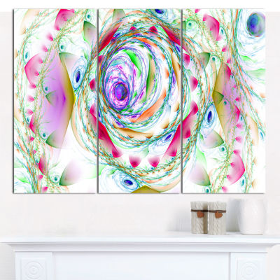 Designart Multi Color Exotic Flower Whirlpool Floral Canvas Wall Art - 3 Panels