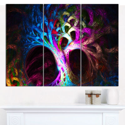 Designart Magical Multi Color Psychedelic Tree Abstract Canvas Wall Art - 3 Panels