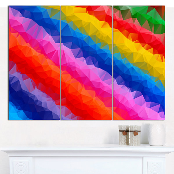 Design Art Multi Color Polygonal Pencils AbstractCanvas Wall Art - 3 Panels
