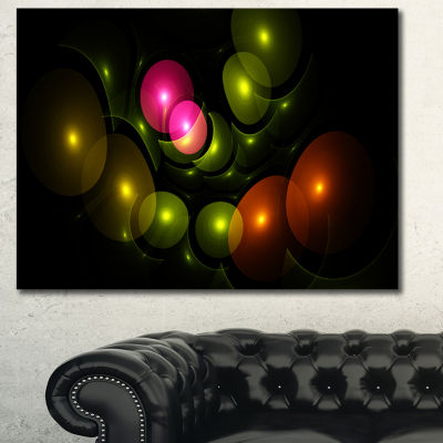 Designart Multi Color 3D Surreal Circles AbstractCanvas Wall Art