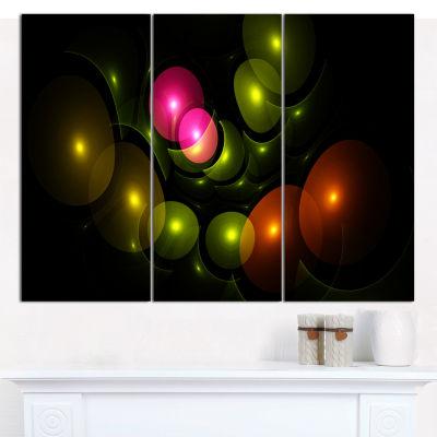 Designart Multi Color 3D Surreal Circles AbstractCanvas Wall Art - 3 Panels