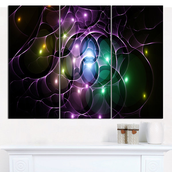Design Art Multi Color Fractal Space Circles Abstract Canvas Wall Art - 3 Panels
