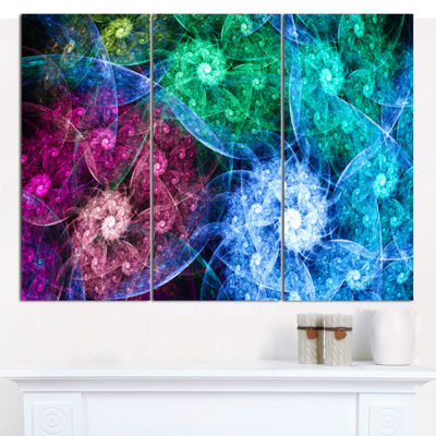 Designart Multi Color Bright Exotic Flowers Abstract Canvas Wall Art - 3 Panels