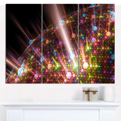 Design Art Multi Color Solar Bubbles Planet Abstract Canvas Wall Art - 3 Panels