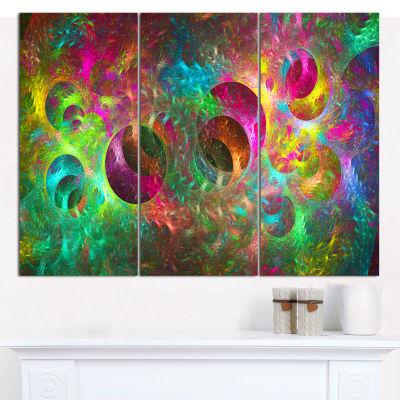 Designart Multi Color Fractal Glass Texture Abstract Canvas Wall Art - 3 Panels