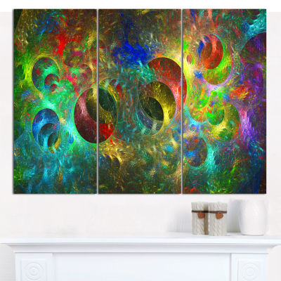 Designart Multi Color Glowing Circles Abstract Canvas Wall Art - 3 Panels