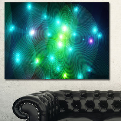 Designart Multi Color Fractal Lights In Fog Abstract Canvas Wall Art