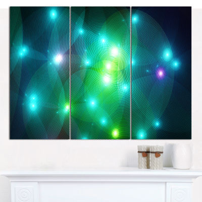Designart Multi Color Fractal Lights In Fog Abstract Canvas Wall Art - 3 Panels