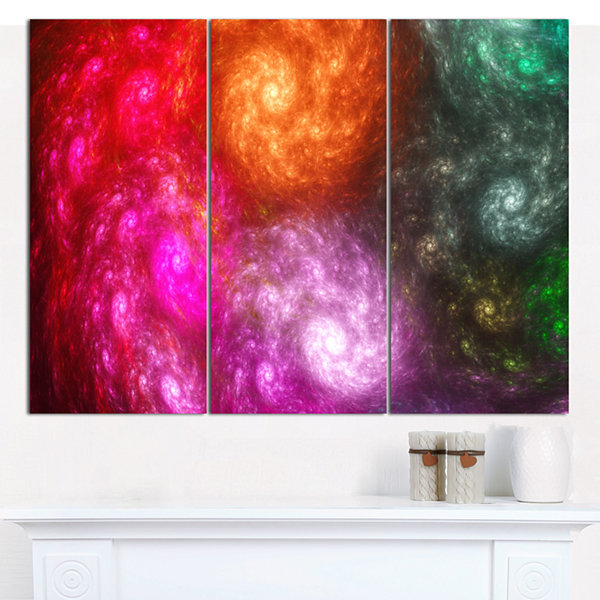 Designart Multi Color Rotating Galaxies AbstractCanvas Wall Art - 3 Panels