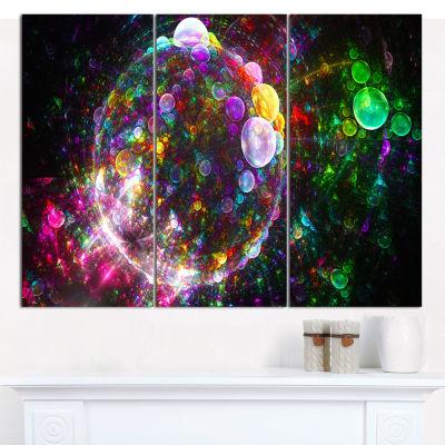 Designart Multi Color Fractal Spherical Bubbles Abstract Canvas Wall Art - 3 Panels