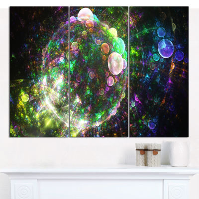 Designart Multi Color Spherical Planet Bubbles Abstract Canvas Wall Art - 3 Panels