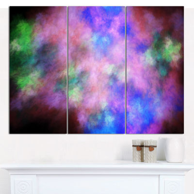 Designart Multi Color Bright Sky With Stars Abstract Canvas Wall Art - 3 Panels