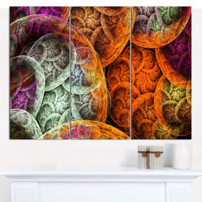 Designart Multi Color Dramatic Clouds Abstract Canvas Wall Art - 3 Panels