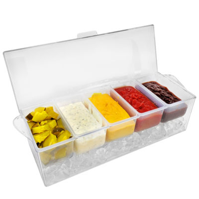 Sorbus Condiment Tray with 5 Removable Compartments and Ice Chamber - Top Cover Lid Included