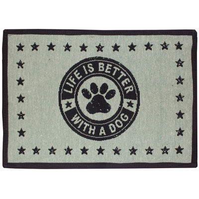 "P. B. Paws by Park B. Smith® 13"" x 19"" Life is Better with a Dog Pet Mat"