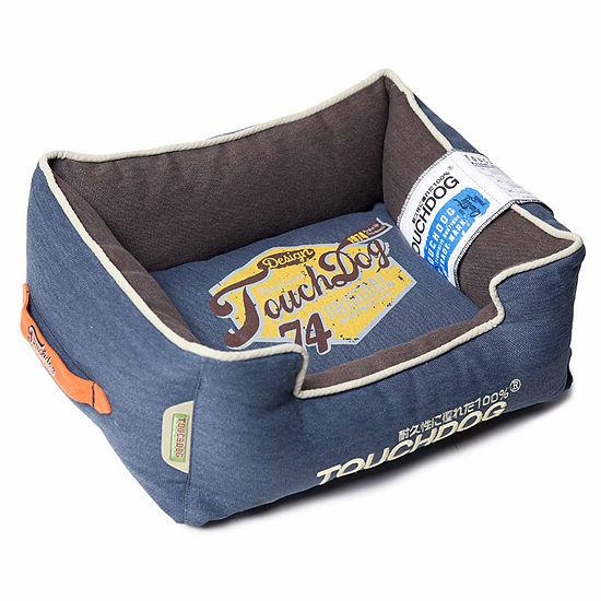 The Pet Life Touchdog Original Sporty Vintage Throwback Reversible Plush Rectangular Pet Bed