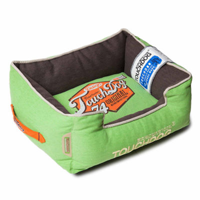 The Pet Life Touchdog Original Sporty Vintage Throwback Reversible Plush Rectangular Dog Bed