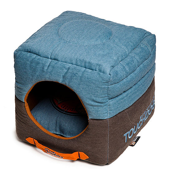 The Pet Life Touchdog Convertible and Reversible Vintage Printed Squared 2-in-1 Collapsible Pet House Bed