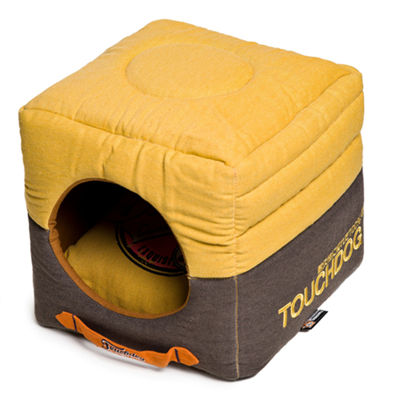 The Pet Life Touchdog Convertible and Reversible Vintage Printed Squared 2-in-1 Collapsible Dog House Bed