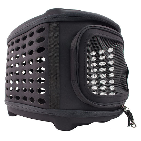 The Pet Life Circular Shelled Perforate Lightweight Collapsible Military Grade Transporter Pet Carrier